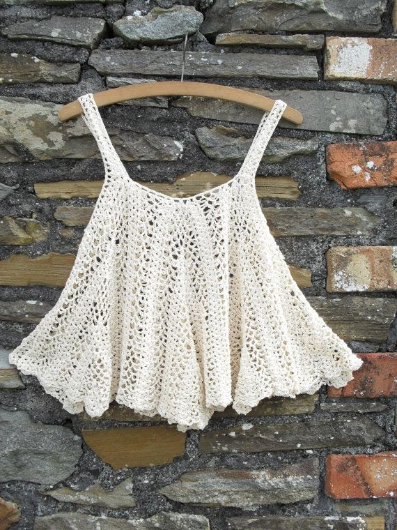 Vintage 70s Crochet Tent Waterfall scallop Vest tank strap top t shirt ... Hippie Boho Mod ... Cream ... 10 8