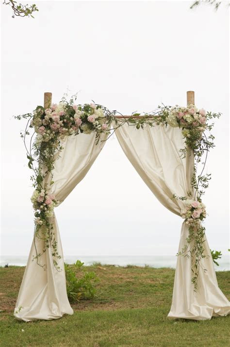 2 Post Bamboo Arch with Champagne Shantung Drape & Pink