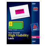 "Avery High-Visibility Labels, Permanent Adhesive, Assorted Neon Colors, 2"" x 4"" 150 Labels (5978)"