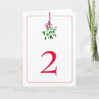 Christmas Mistletoe Wedding Table Card