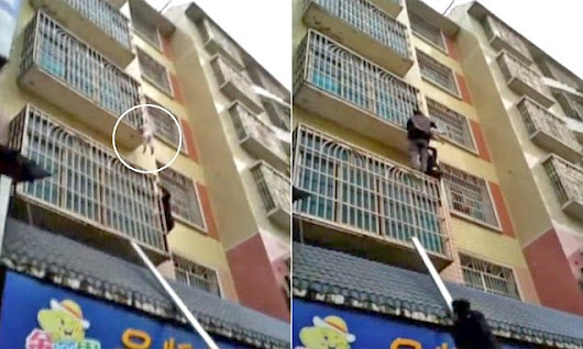 Baby is rescued after falling through a balcony and trapping his head