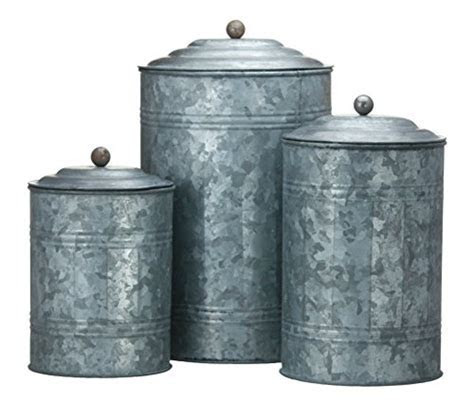 Antique Style Galvanized Tin Canister Set   coconuas224
