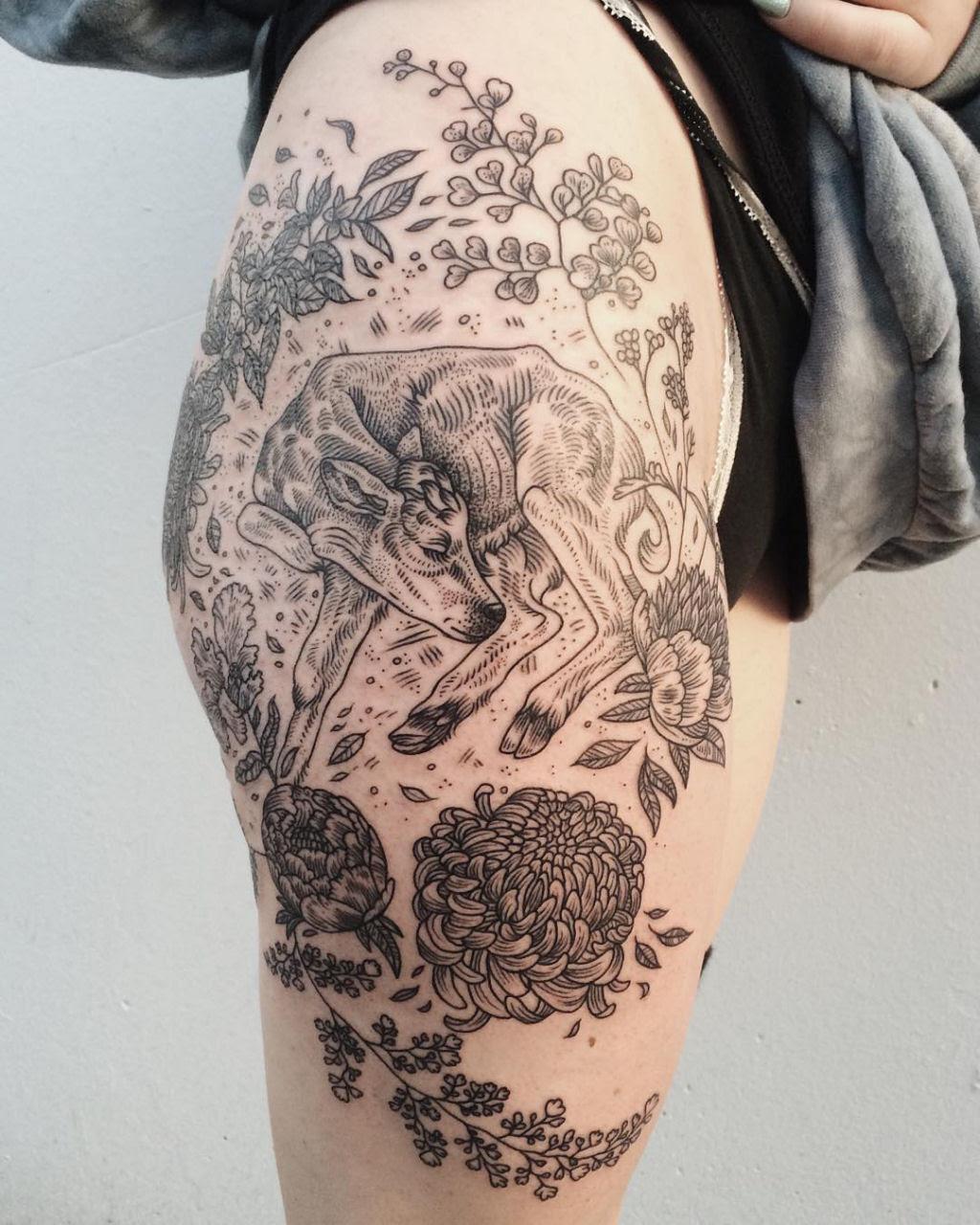 Tatuagens inspiradas na natureza combinam gravuras de estilo vintage de fauna e flora 11