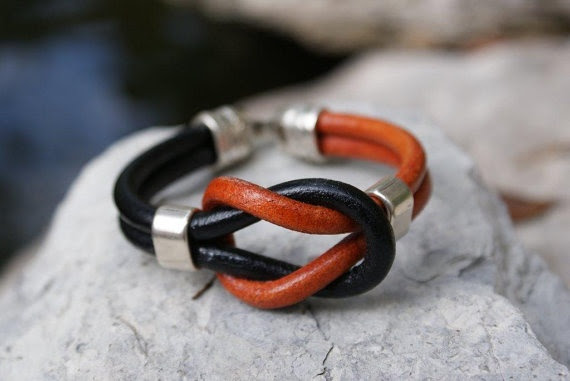 Black & Orange Regaliz European Leather Knot by CopperLaneDesigns, $38.00  --So unique and perfect accessory for gameday! Go Pokes :)