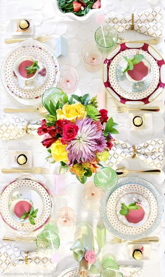 Bridesmaid Luncheon with Menu Recipes & Mod Meets Vintage style - Celebrations at Home