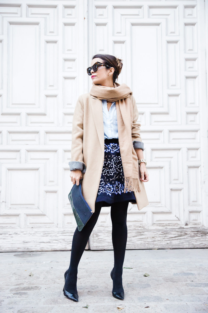 AnhHa-Embroidered_Skirt-Camel_Coat-Blue_Shirt-Outfit-Street_Style-8