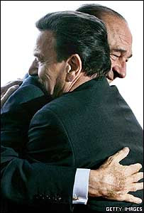 French President Jacques Chirac and German Chancellor Gerhard Schroeder embrace each other
