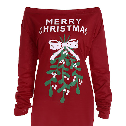 Merry Christmas Graphic Asymmetric Tee, DEEP RED, XL in Plus Size Tops | DressLily.com