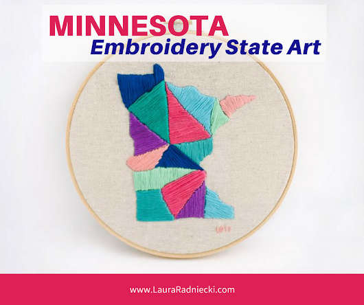 Minnesota State Embroidery Project | State Embroidery Art Pattern