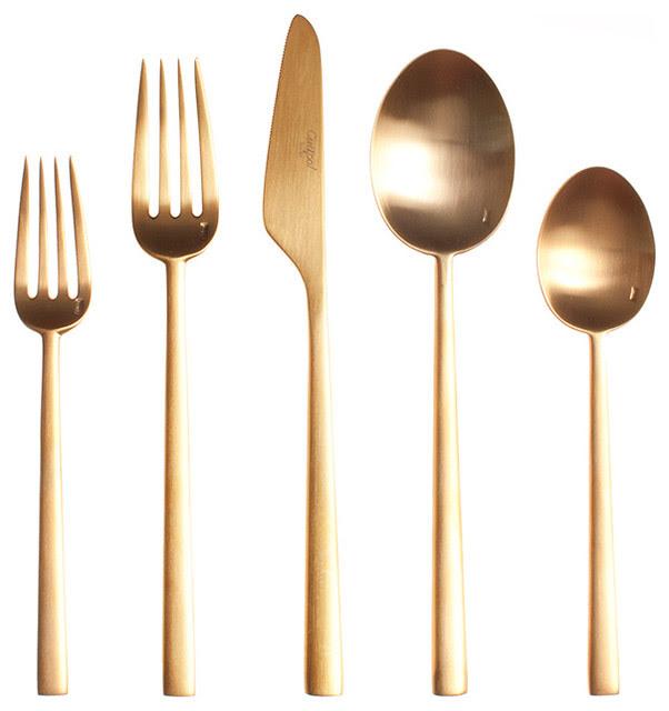 Rondo Gold Cutlery, 5-Piece Set - modern - flatware - by HORNE