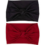Juvale 2 Pcs Knotted Turban Stretch Headbands for Women & Girls, Black & Red, Women's, Multicolor(cotton)