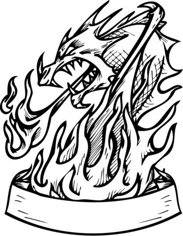 ausmalbild drache feuer - cartoon-bild