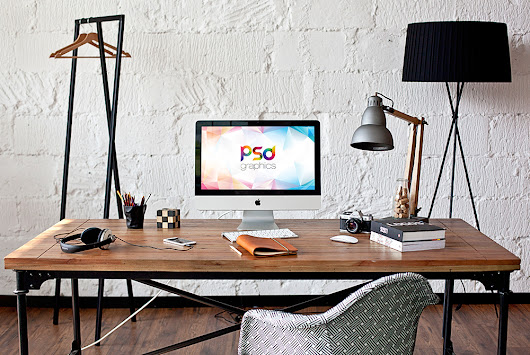 iMac in Home Office Mockup Free PSD | PSD Graphics