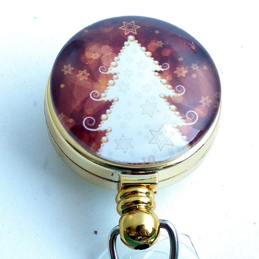 Magnetic Retractable ID Badge Holder - White Christmas Tree on Golden Brown