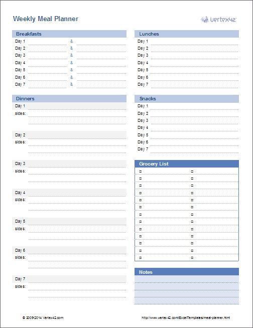 Meal Planner Template - Weekly Menu Planner