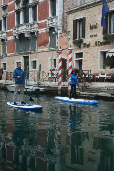 SUP in venice hotel entrance by canal