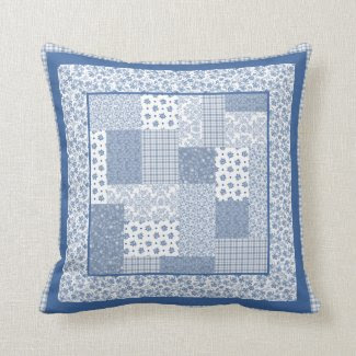 Nostalgic Indigo Faux Patchwork Pillow or Cushion