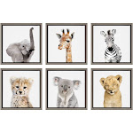 """6pc 13"""" x 13"""" Sylvie Safari Animal Framed Canvas Art Set by Amy Peterson Gray - Kate and Laurel"""