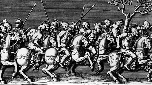An engraving of Ancient Roman equestrian soldiers by Julius Romanus