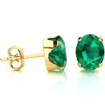 2 1/3 Carat Oval Shape Emerald Stud Earrings in 14K Yellow Gold Over Sterling Silver by SuperJeweler