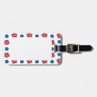 Blue and Pink Rose Design on Luggage Tags