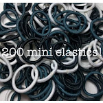 Mini Ponytail Elastics, Black White Grey Assortment / 200 piece Pack