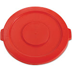 """Forest Grass USA Round Flat Top Lid, for 32-Gallon Round Brute Containers, 22 1/4"""", Dia., Red"""