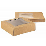 Juvale Kraft Paperboard Popup Window Box - Pack of 20 Brown Kraft Paperboard Pop-Up Window Box, Pastry & Cake Bakery Boxes with Plastic Window, 8 x 8 x 2.5