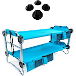 Disc-O-Bed Youth Kid-O-Bunk Benchable Camping Cot, Teal & Non-Slip Foot Pads
