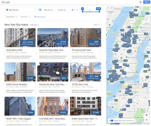 Google launches new design for hotel search results - Search Engine Land