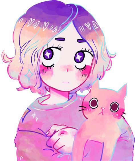 aesthetic anime girl kitty galaxy freetoedit