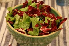 radichio and escarole in a  bowl