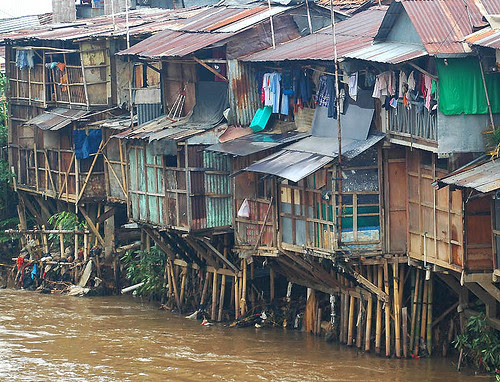 slums in Jakarta by the Ciliwung river