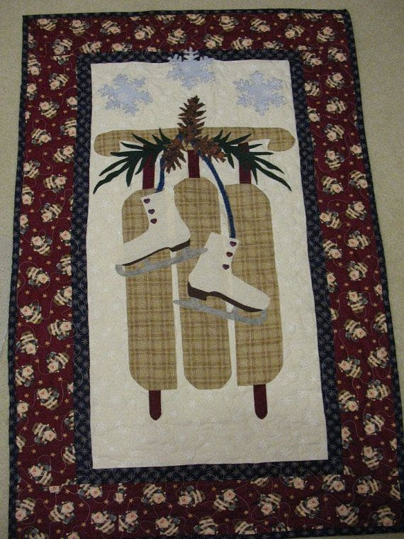 Appliqued Sled and Ice Skates Wall Hanging by SweetDreamsbyMoosie, $50.00