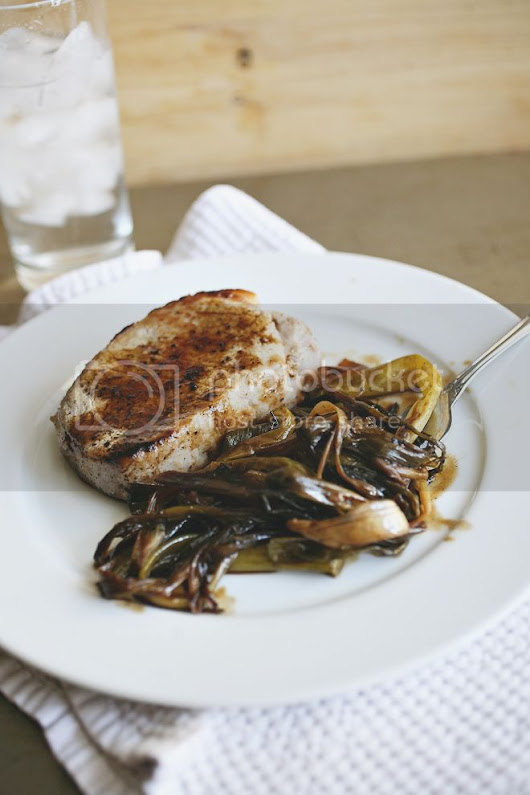 Beloved Green: Roasted Scallions with Pork Chops