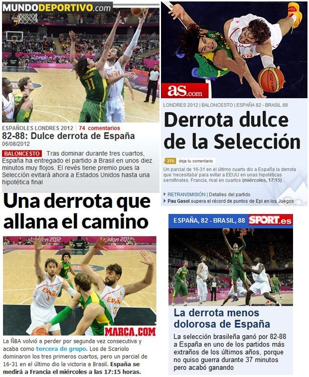 Sites espanhois, Basquete, Brasil x Espanha (Foto: Editoria de arte / Globoesporte.com)