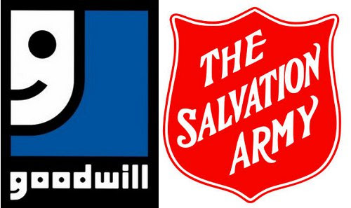 salvation army and goodwill thrift store logos