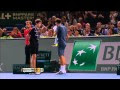 Djokovic Executes Hot Shot Against Federer in Paris