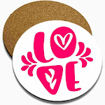 Love Pink Color Set of 4 Coasters Wood Round