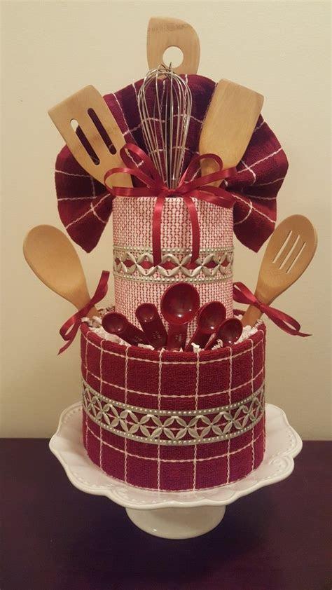 Kitchen themed towel cake, bridal shower centerpiece gift