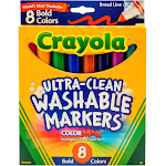 Crayola Washable 8-Piece Bold Markers Set, Assorted