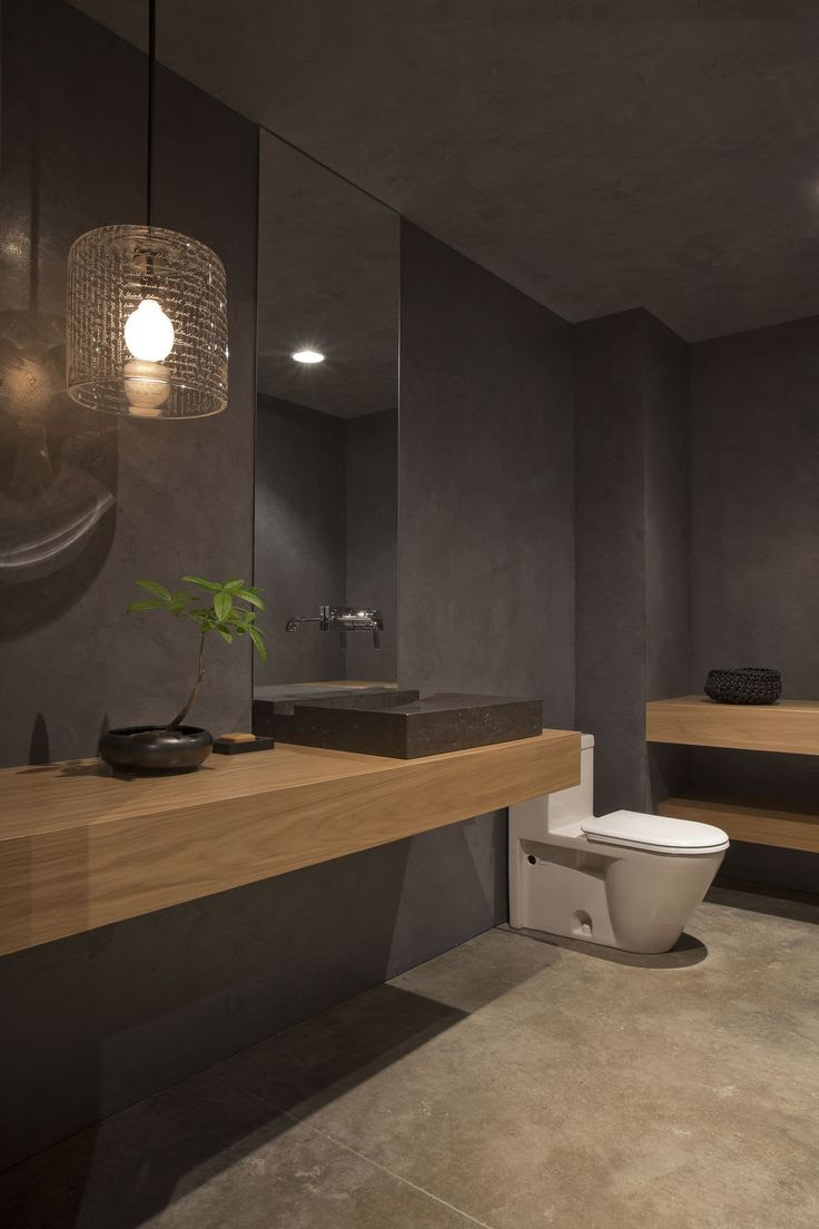 Grey Bathroom Design with Mid toned Wood