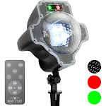 Viatek Ll06-srg Led White Snowfall With Red and Green Laser Lights and Remote