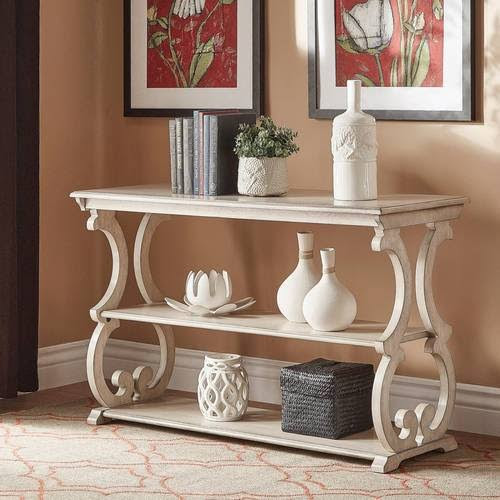 antique white sofa table Lorraine Wood Scroll TV Stand Sofa Table by iNSPIRE Q Classic  antique white sofa table