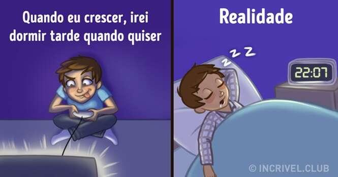 Ilustrações irônicas mostrando a realidade da vida adulta