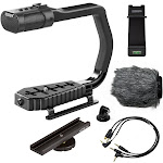 Sevenoak MicRig Universal Video Grip Handle with Integrated Stereo Microphone, Windscreen, Bonus Shoe Extender Bracket for DSLR Cameras, iPhone/