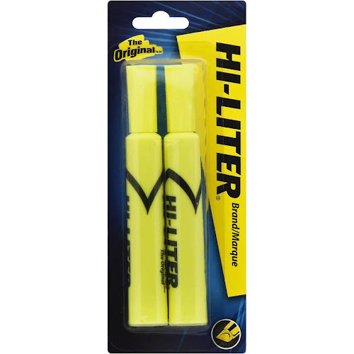 Avery Hi-Liter - Highlighter - non-permanent - fluorescent yellow - water-based ink - pack of 2