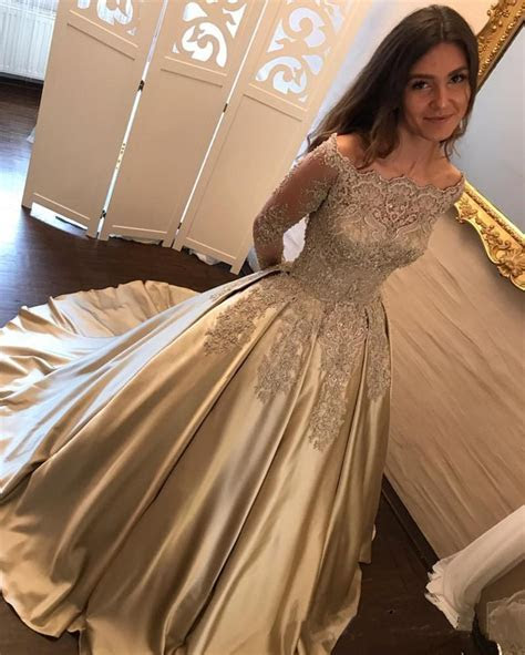 Vintage Gold Lace Long Sleeves Satin Ball Gowns Wedding