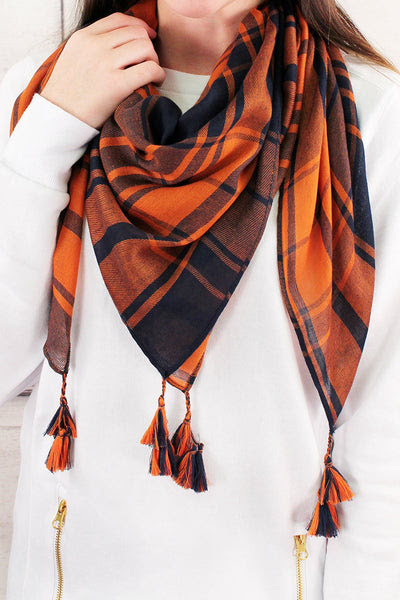 Navy and Orange Game Day Plaid Square Scarf #EBSC5043-NVOR | Wholesale Accessory Market