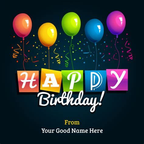 Write Name on Happy Birthday Greetings with Balloons
